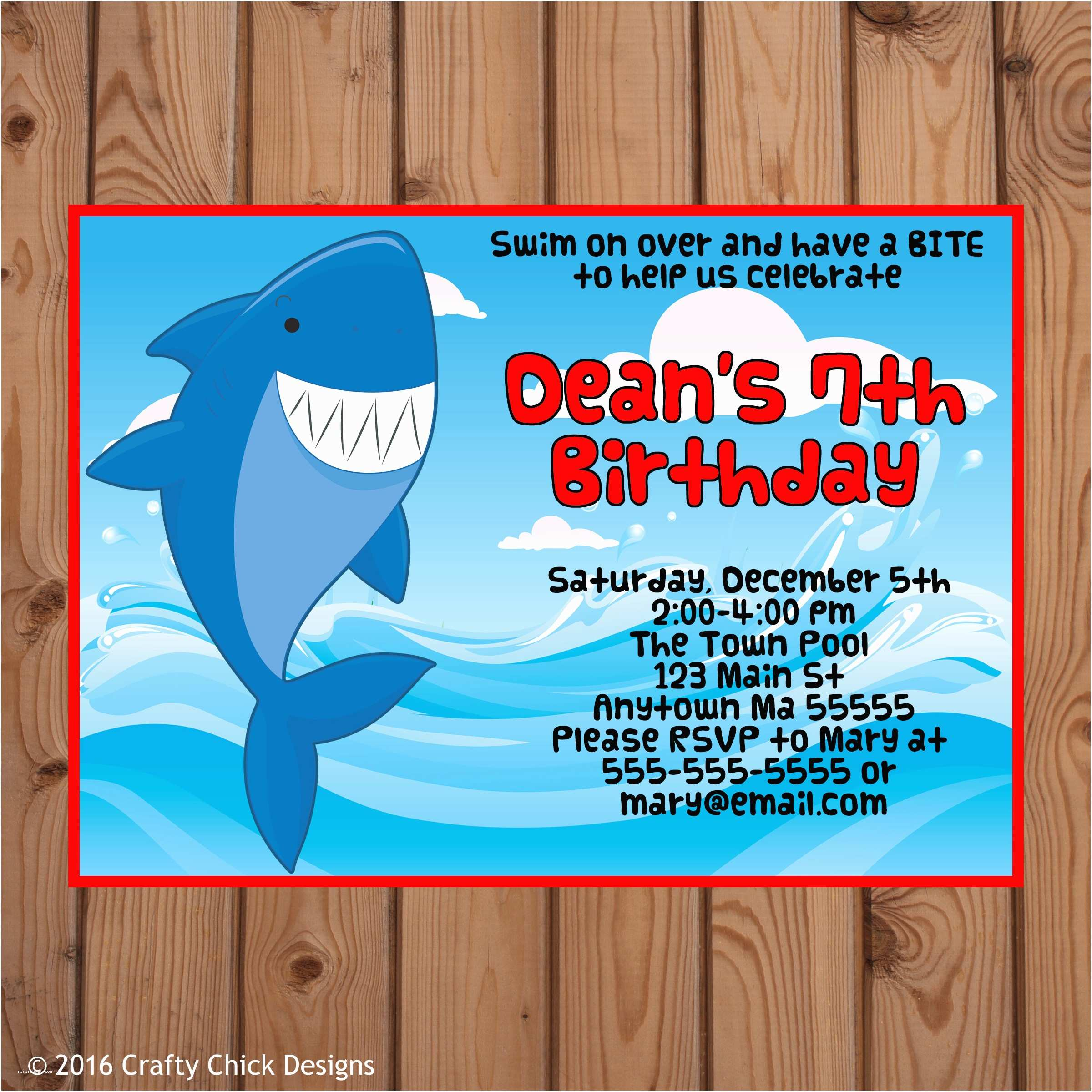 shark theme birthday party invitations