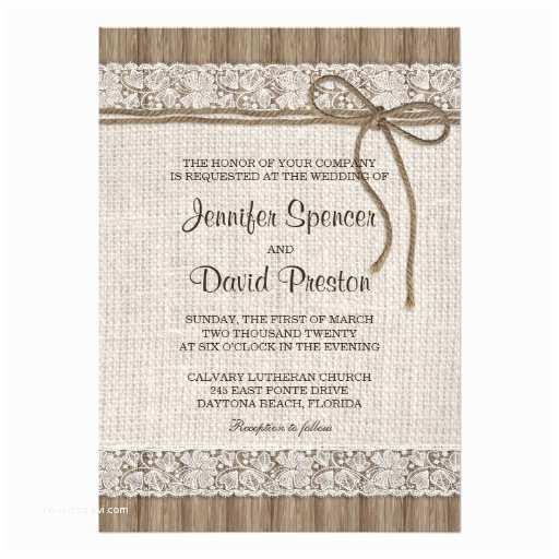Sheer Paper Wedding Invitations Burlap and Lace Wedding Invitation Rustic Wedding 5x7