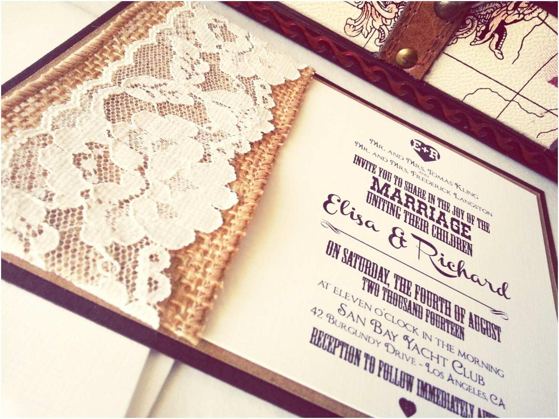Sheer Paper Wedding Invitations Burlap and Lace Wedding Invitation with Purple Paper