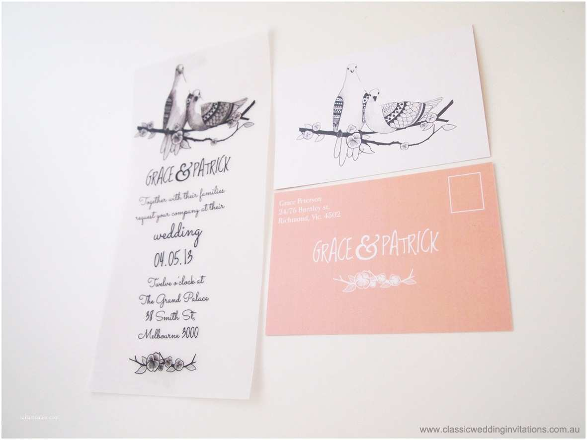Sheer Paper Wedding Invitations Classic Wedding Invitations Love Birds Translucent Paper