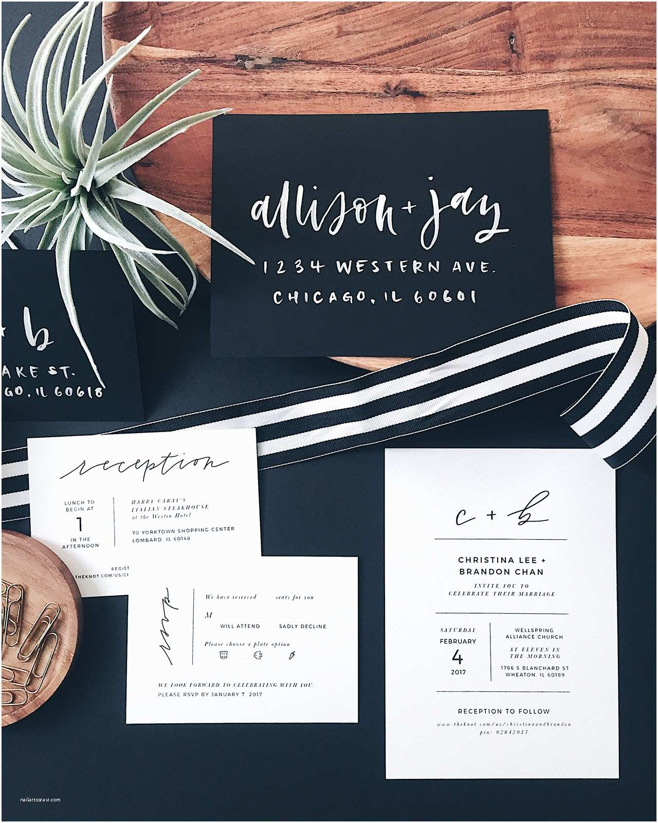 Sheer Paper Wedding Invitations Minimalist Black and White Hand Lettered Wedding