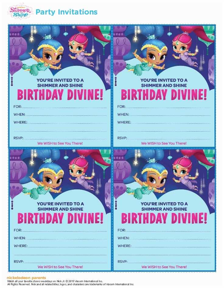 Shimmer and Shine Party Invitations 100 Best Shimmer & Shine Printables Images On Pinterest
