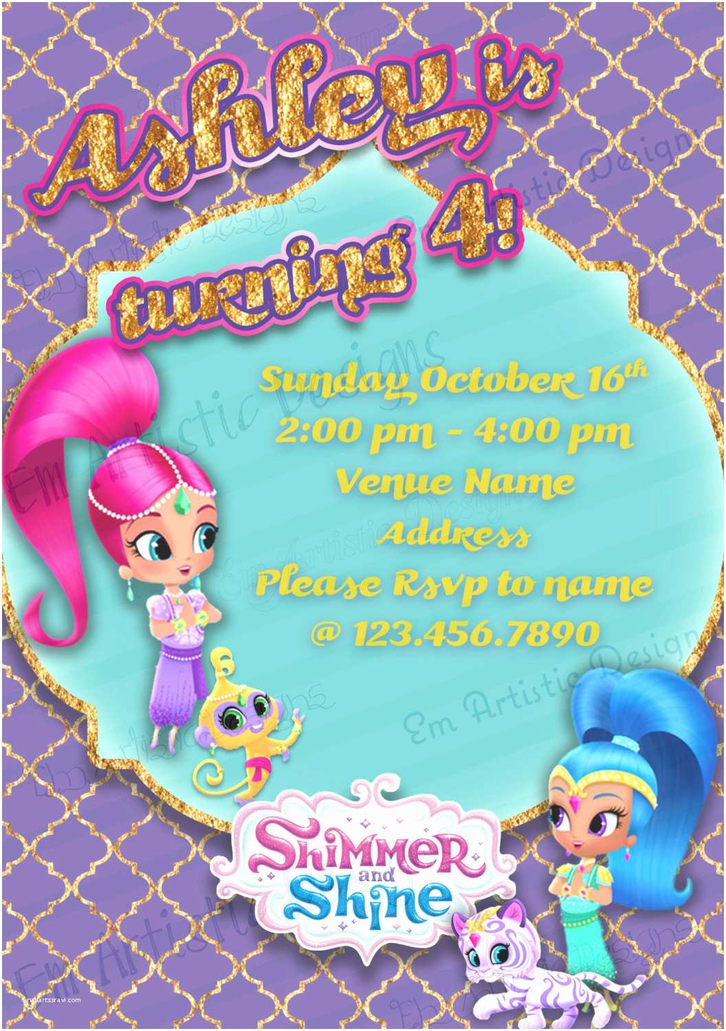Shimmer and Shine Party Invitations Individual Shimmer and Shine Birthday Party Invitations