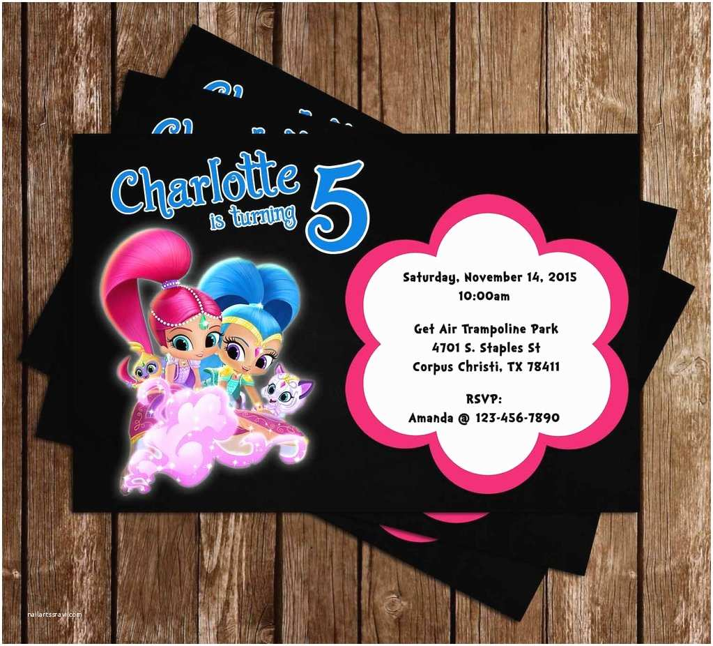 Shimmer and Shine Party Invitations Novel Concept Designs Shimmer and Shine Birthday Party