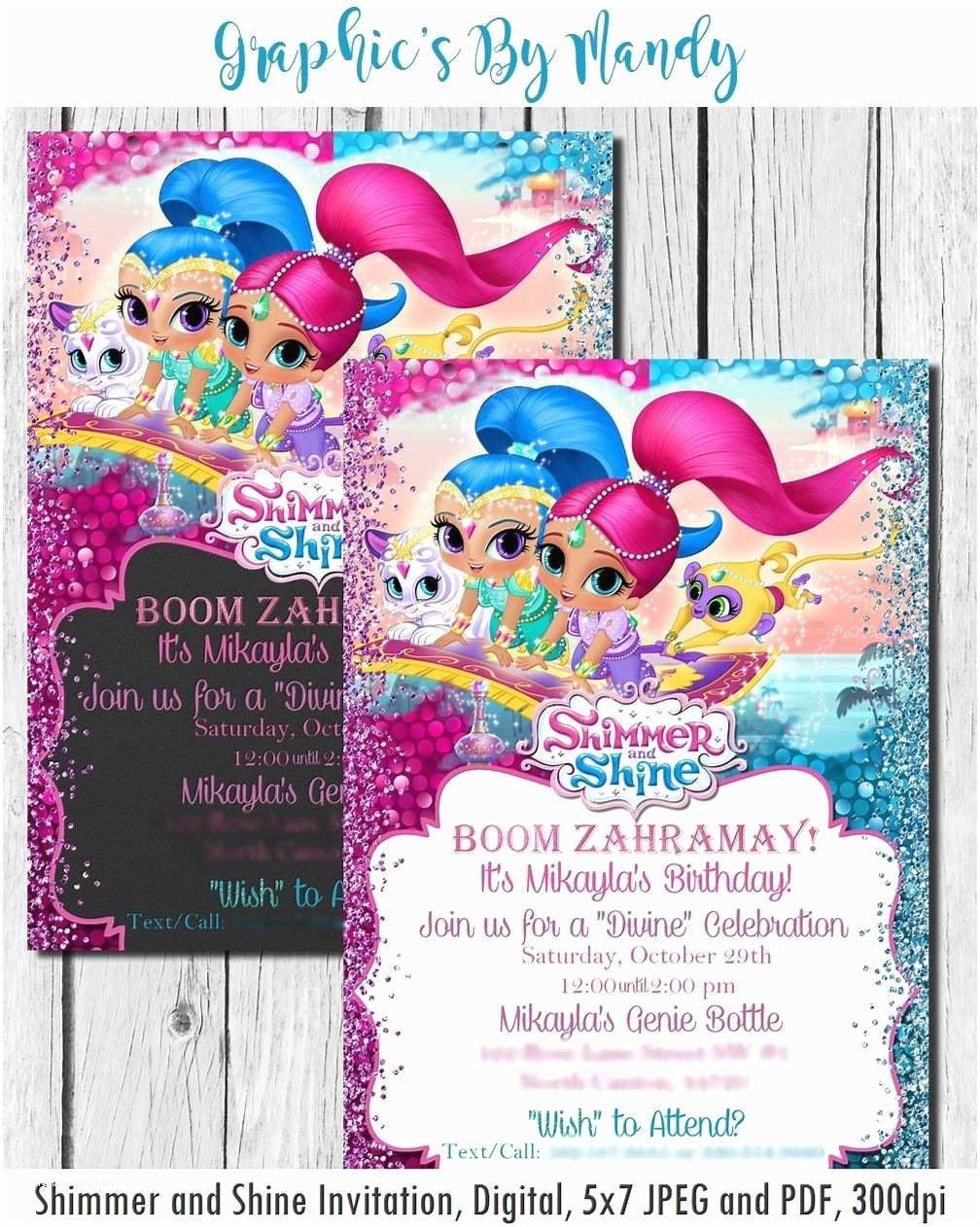 Shimmer and Shine Party Invitations Shimmer and Shine Birthday Invitation