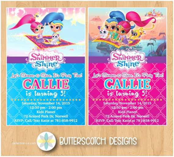 Shimmer and Shine Party Invitations Shimmer and Shine Birthday Invitation Pick From 2 Designs