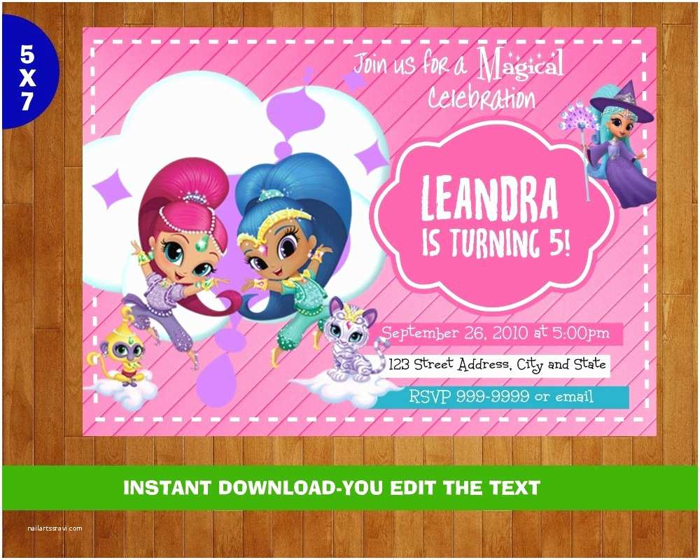 Shimmer and Shine Party Invitations Shimmer and Shine Birthday Invitation Shimmer and by