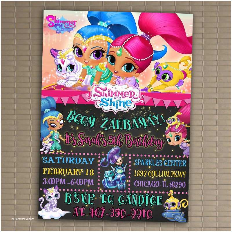 Shimmer and Shine Party Invitations Shimmer and Shine Invitation You Print Invitation Shimmer
