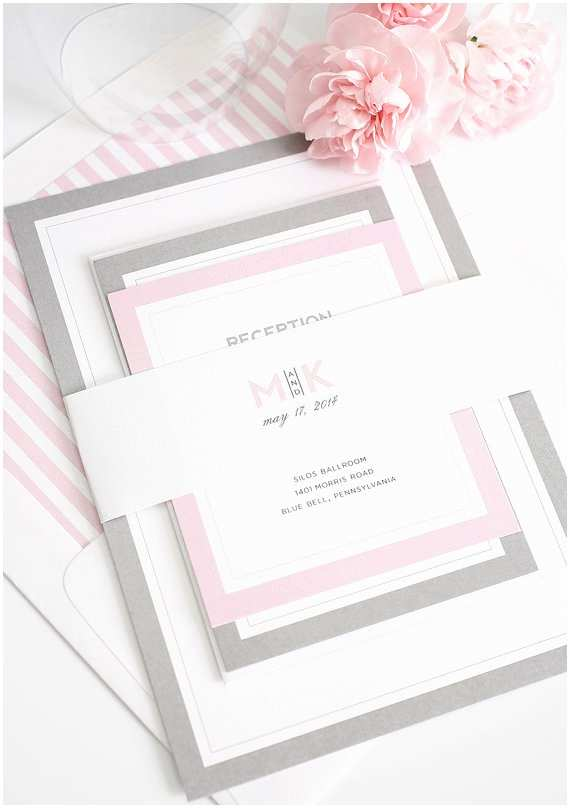 Shine Wedding Invitations Gray and Pink Wedding Invitation Unique Romantic