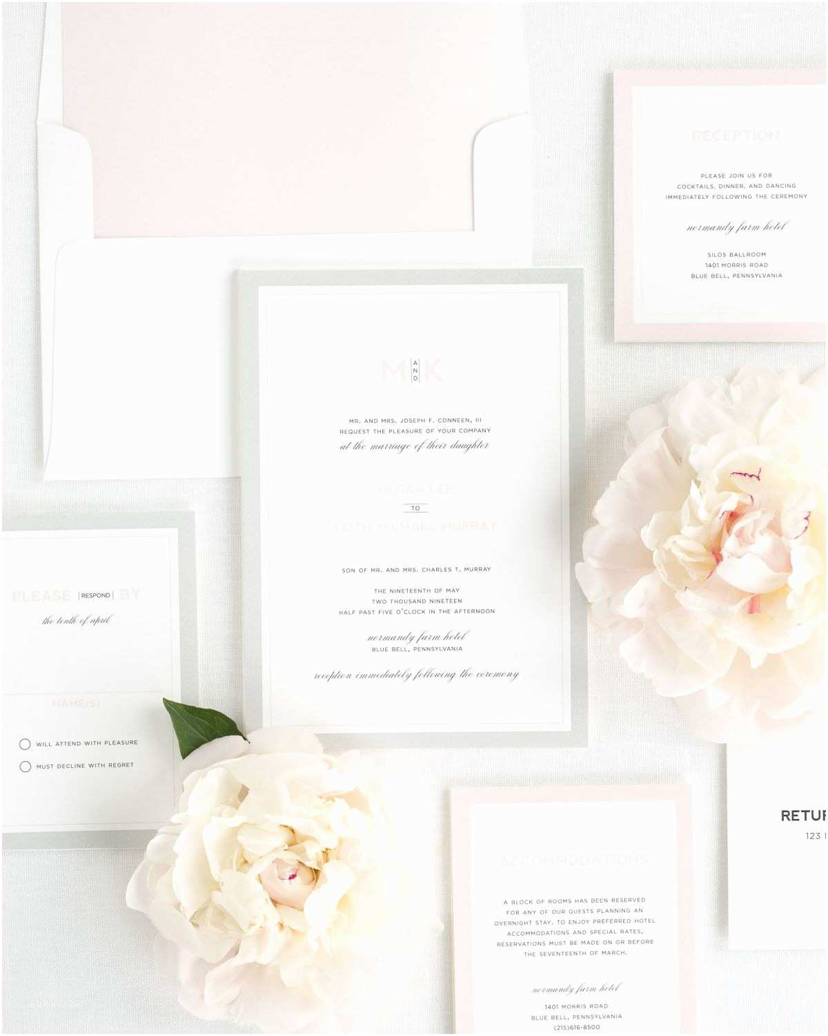 modern initials wedding invitations