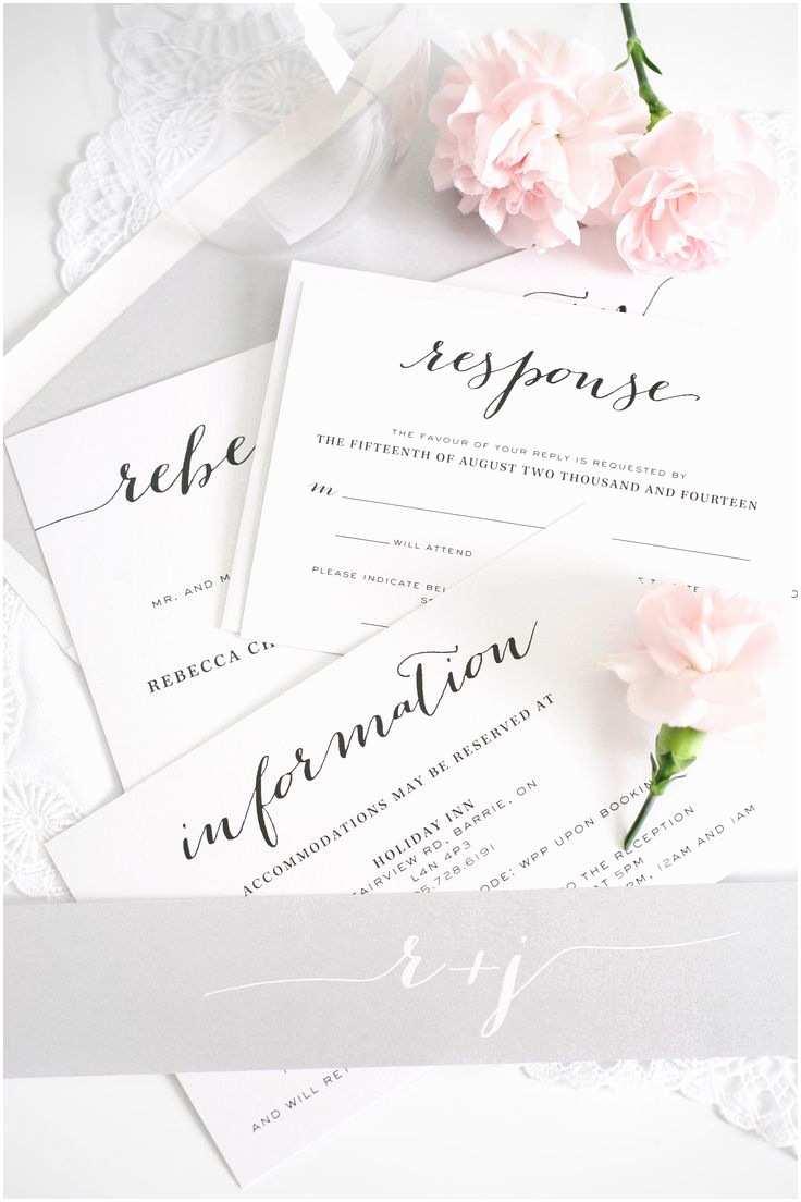 Shine Wedding Invitations Silver Script Wedding Invitations