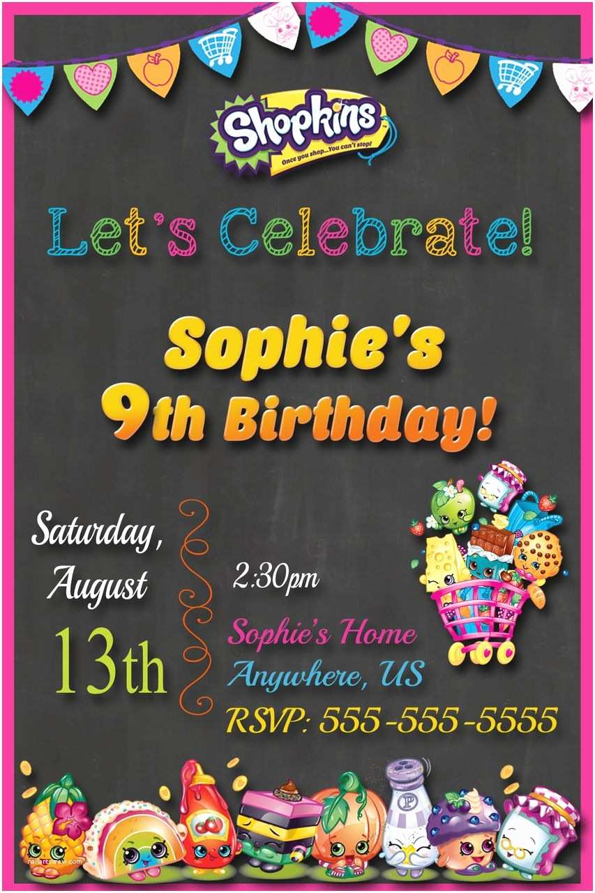 Shopkins Birthday Party Invitations Chalkboard Shopkins Birthday Party Invitation