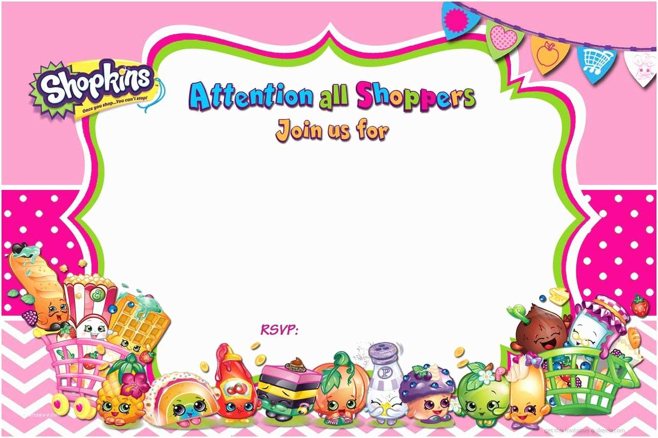 Shopkins Birthday Party Invitations Cool Free Printable Shopkins Birthday Invitation Template