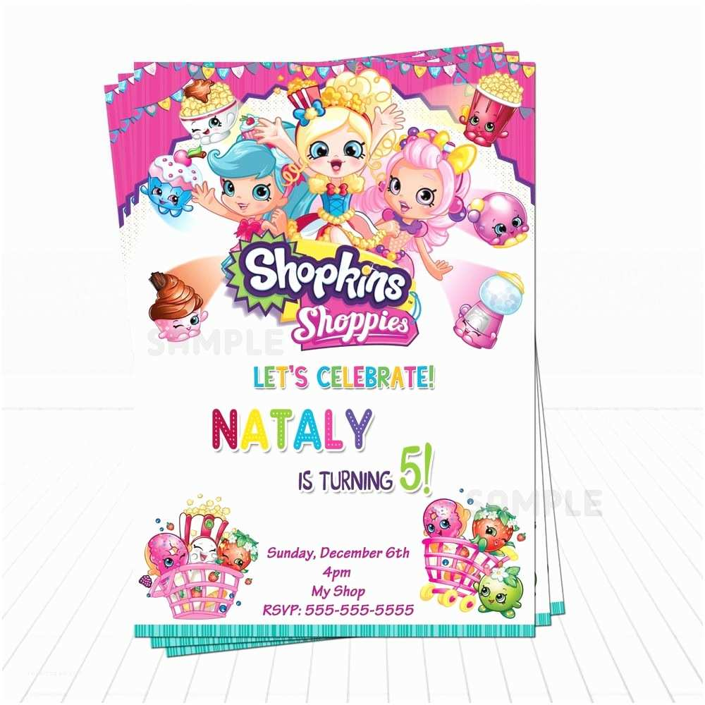 Shopkins Birthday Party Invitations Cute Shopkins Birthday Invitations Shopkins Shoppies