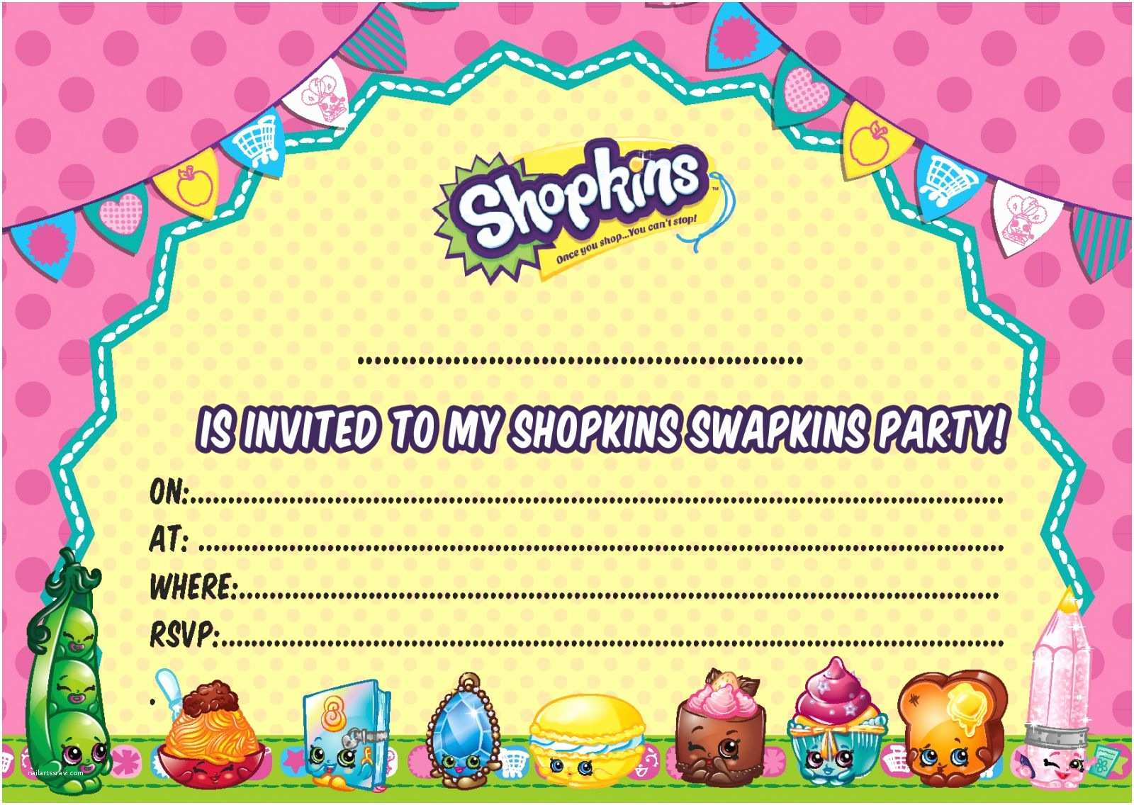 Shopkins Birthday Party Invitations Free Shopkins Party Food Coloring Pages