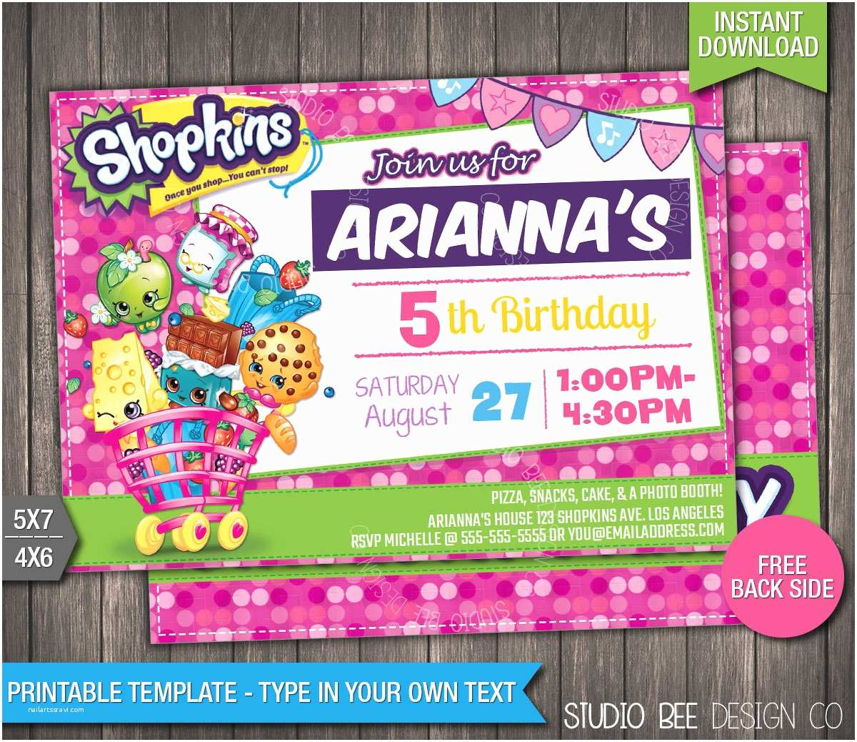 Shopkins Birthday Party Invitations Off Shopkins Birthday Invitation Instant by