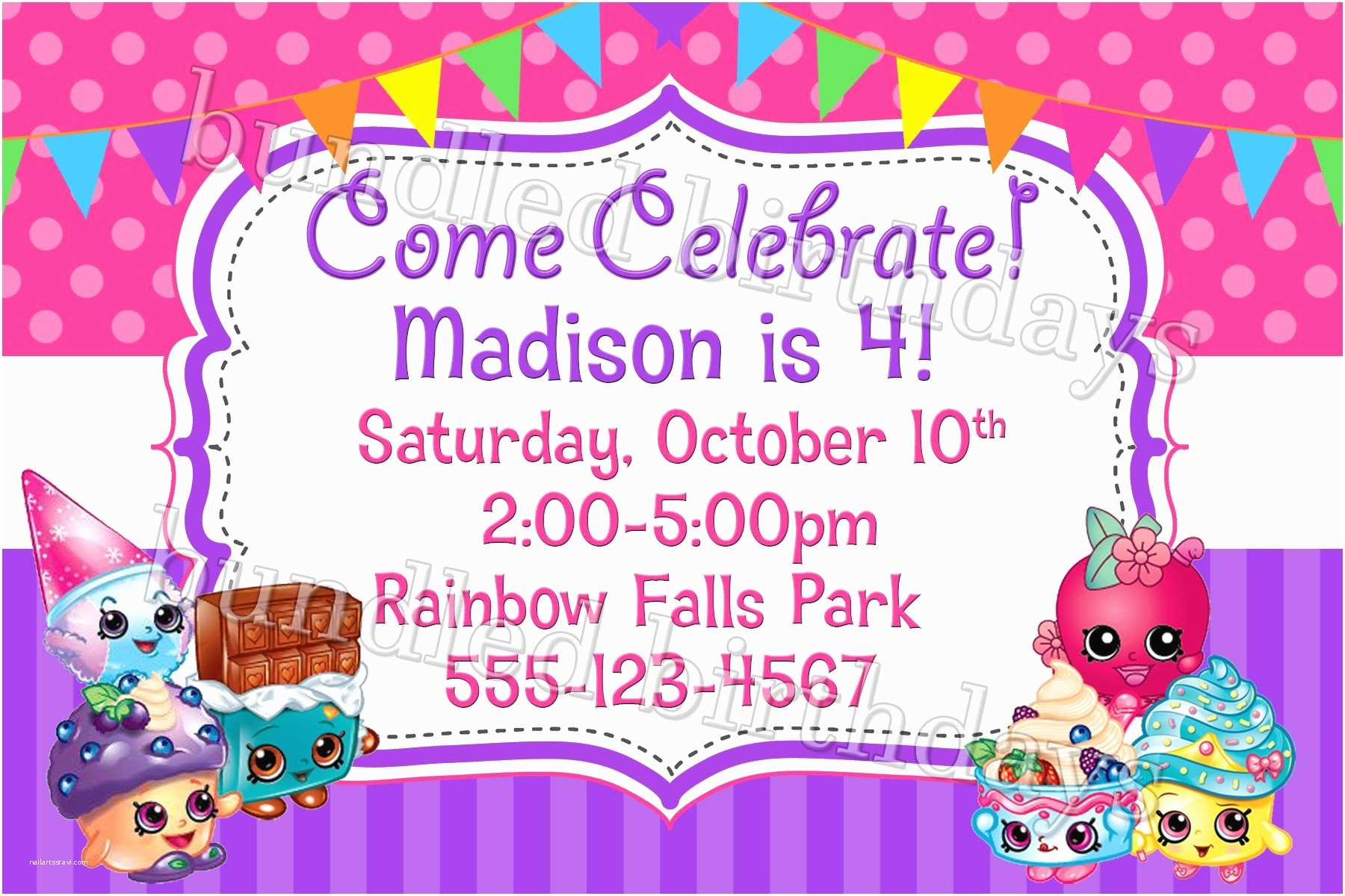 Shopkins Birthday Party Invitations Shopkins Birthday Invitation Digital Download