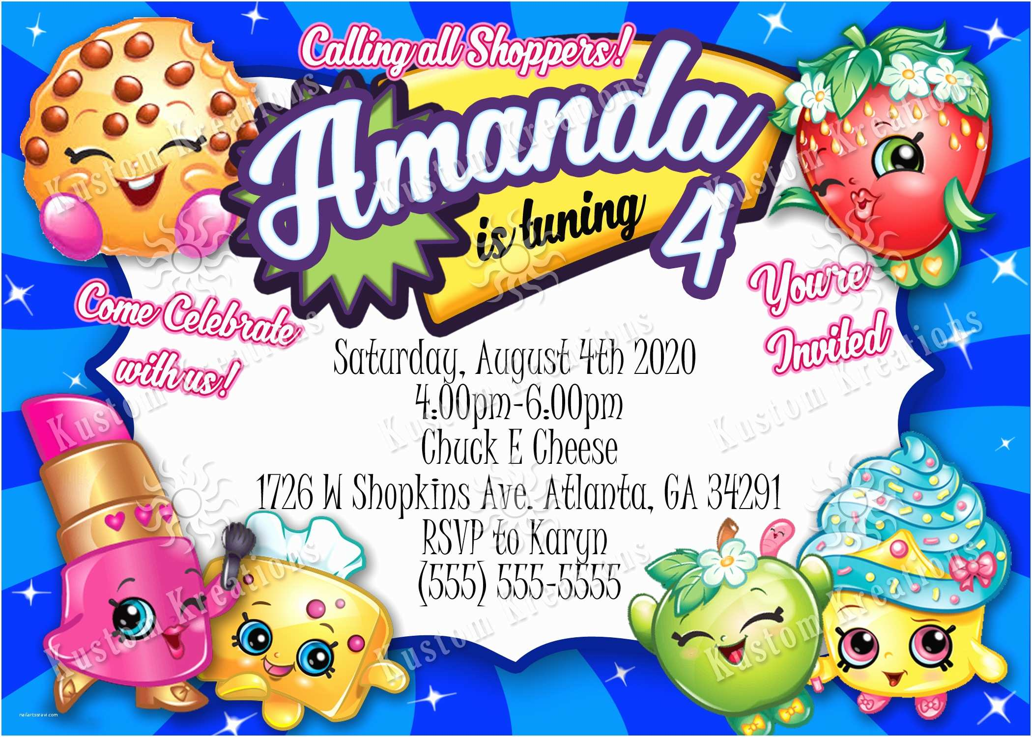 Shopkins Birthday Party Invitations Shopkins Birthday Invitation