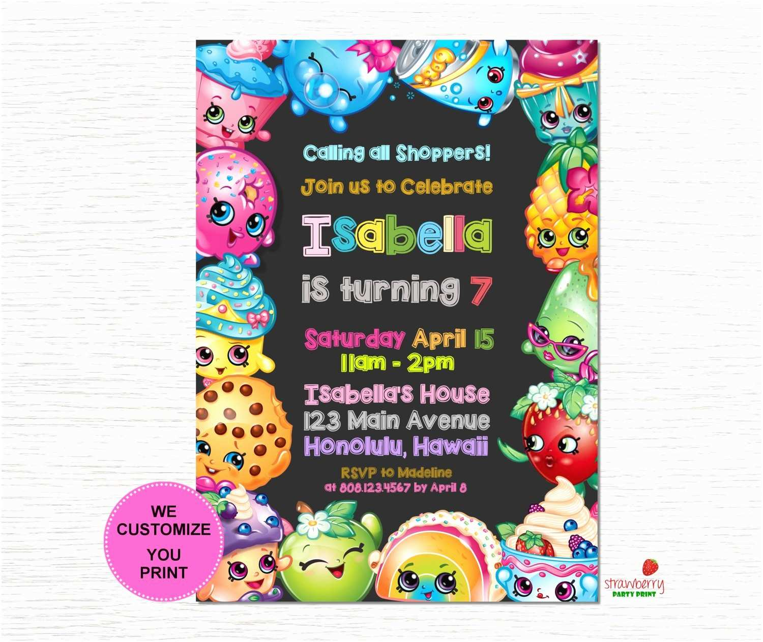 Shopkins Birthday Party Invitations Shopkins Birthday Invitation Shopkins Invitation Shopkins