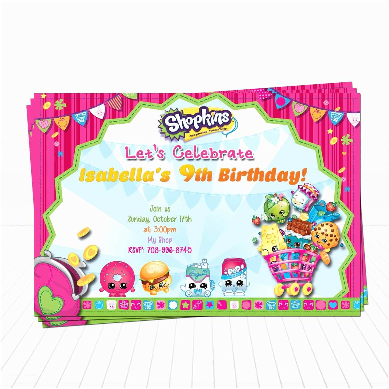 Shopkins Birthday Party Invitations Shopkins Birthday Invitation Shopkins Supplies