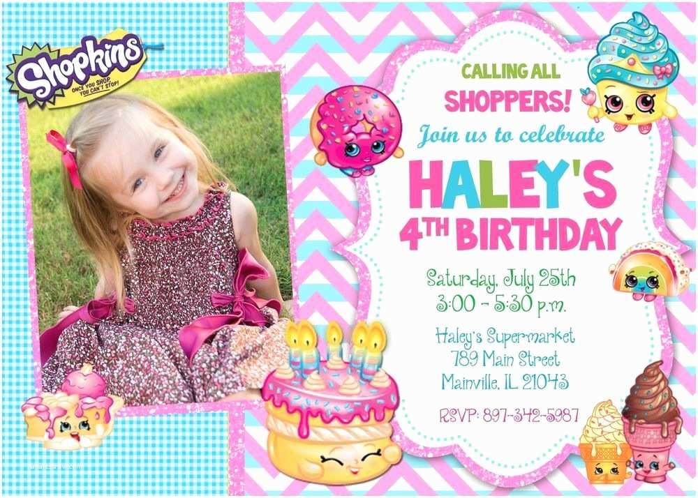 Shopkins Birthday Party Invitations Shopkins Birthday Party Invitation Gianelys