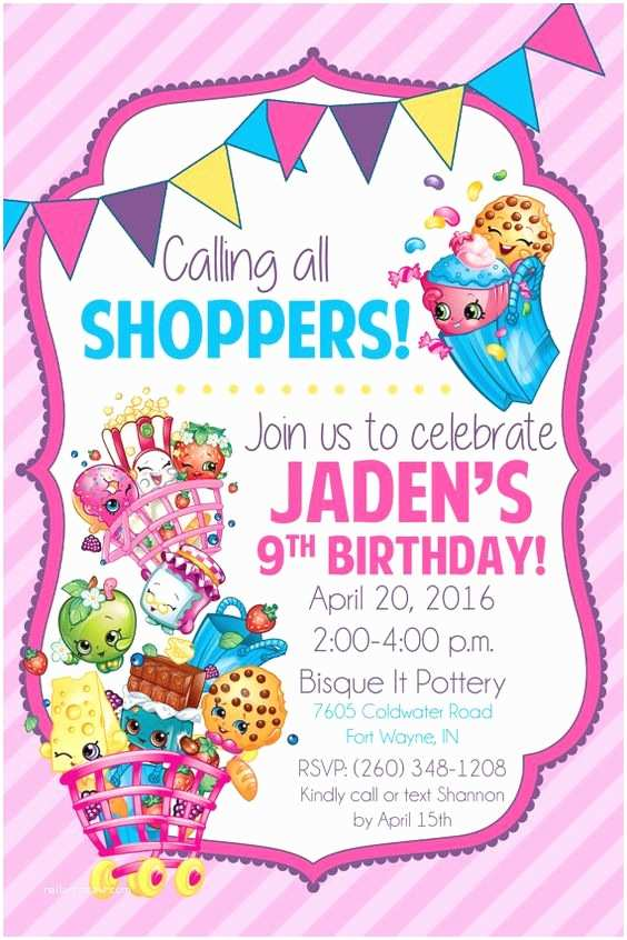 Shopkins Birthday Party Invitations Shopkins Birthday Party Invitation