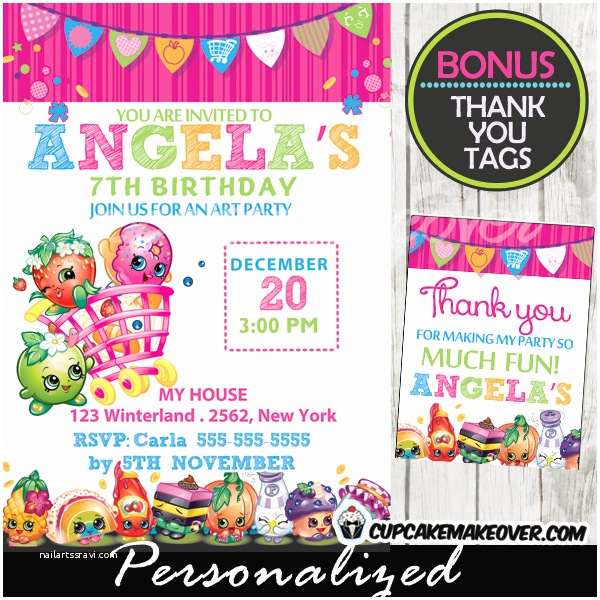 Shopkins Birthday Party Invitations Shopkins Birthday Party Invitation Personalized D3