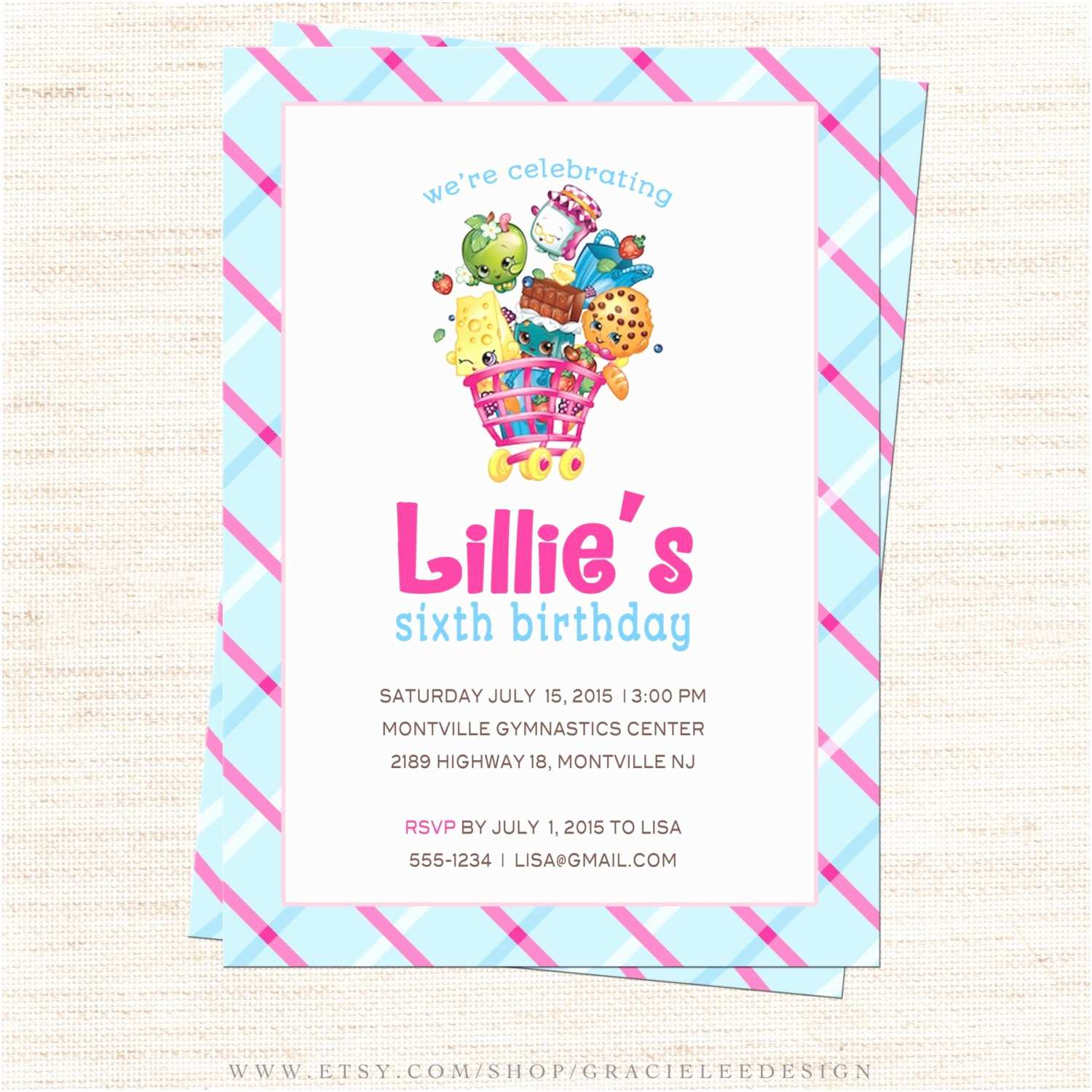Shopkins Birthday Party Invitations Shopkins Birthday Party Invitation Shopkins by Gracieleedesign
