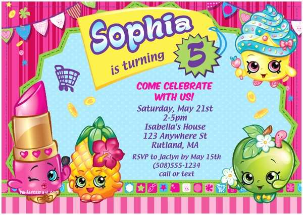 Shopkins Birthday Party Invitations Shopkins Birthday Party Invitations