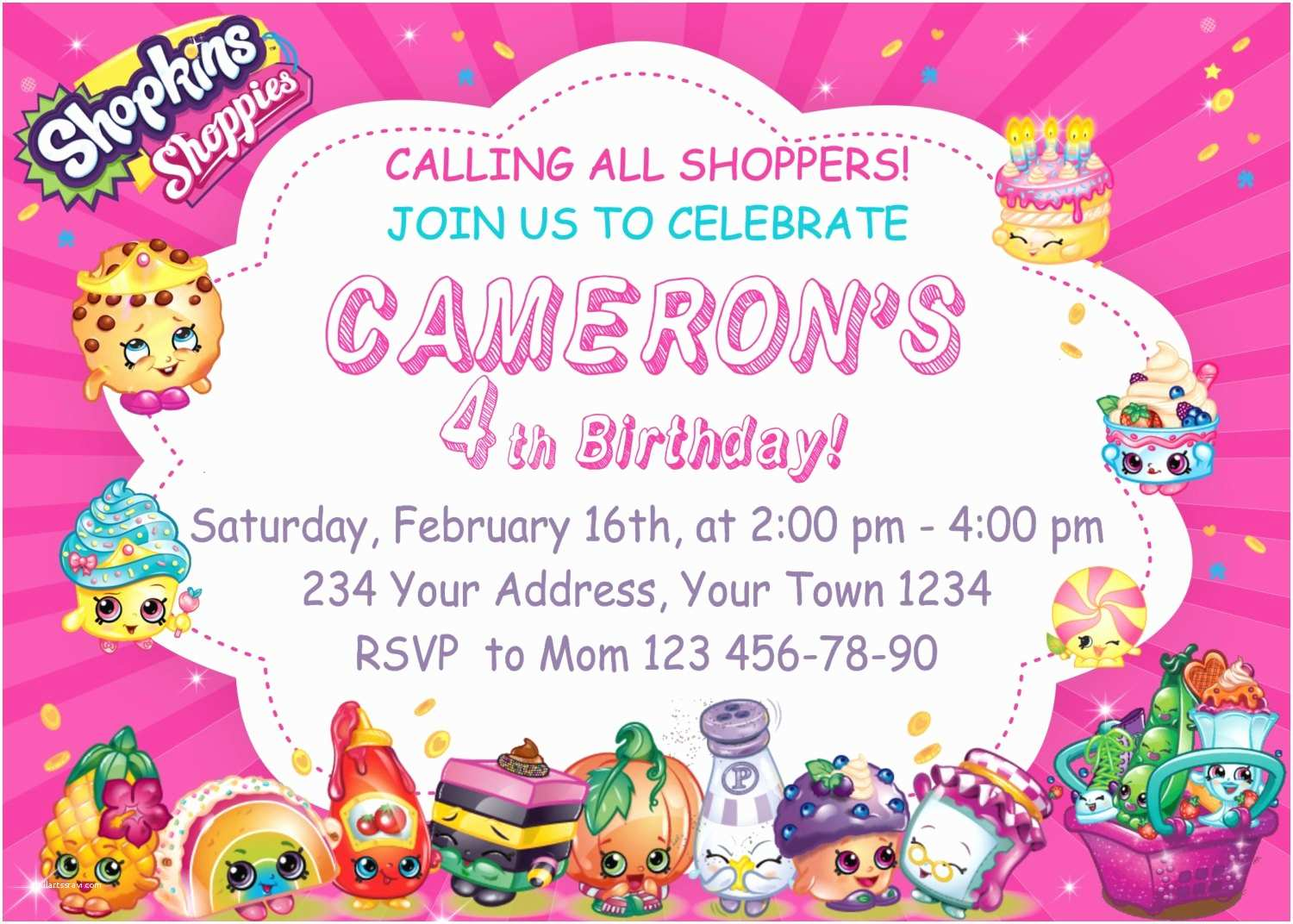Shopkins Birthday Party Invitations Shopkins Birthday Party Invitations Shopkins by