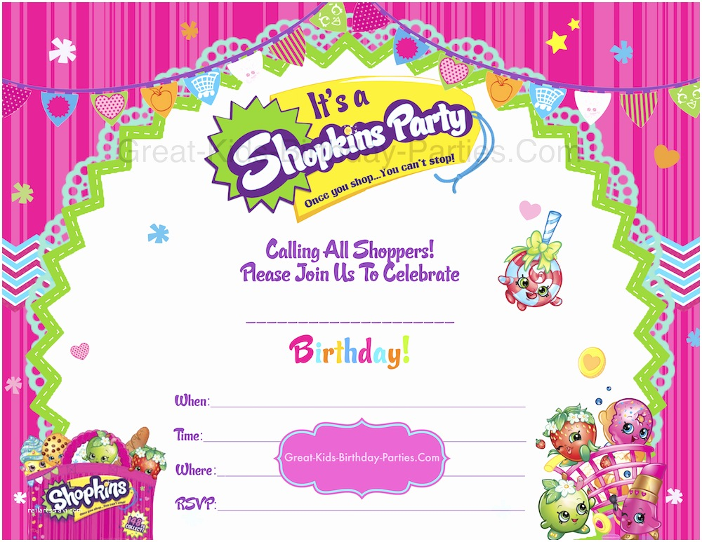 Shopkins Birthday Party Invitations Shopkins Birthday Party