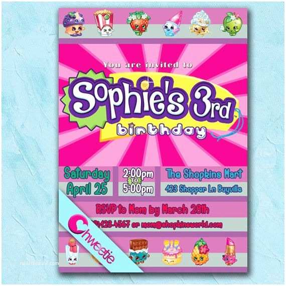 Shopkins Birthday Party Invitations Shopkins Birthday Party Printable Invitation