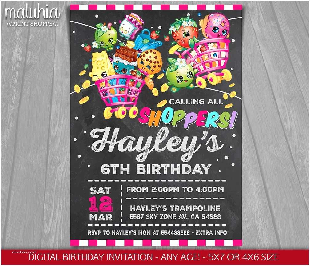 Shopkins Birthday Party Invitations Shopkins Chalkboard Invitation $9