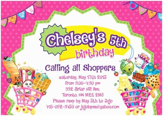 Shopkins Birthday Party Invitations Shopkins Custom Printable Birthday Invitation by 5dollarparty