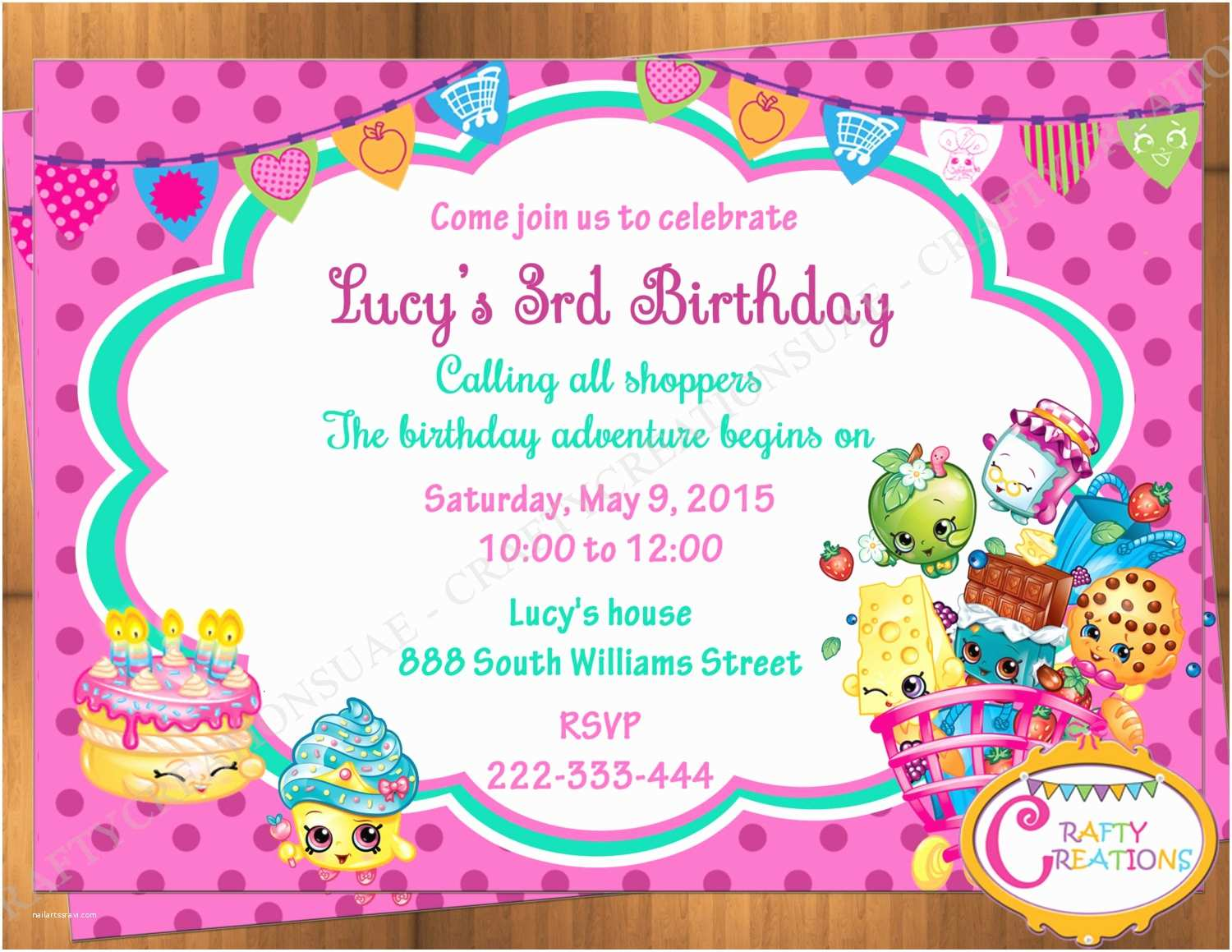 Shopkins Birthday Party Invitations Shopkins Inspired Invitation Shopkins Invitation Shopkins