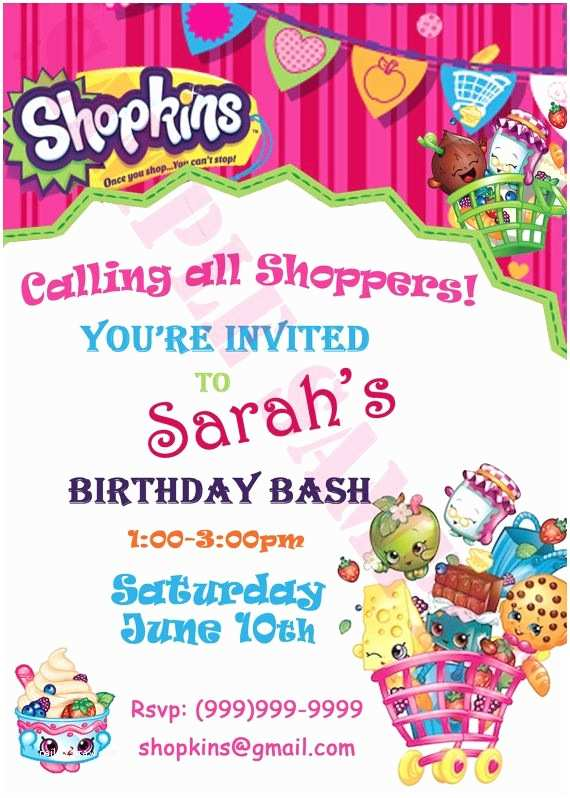 Shopkins Birthday Party Invitations Shopkins Invitation by Esweetwirl On Etsy