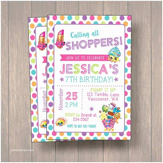 Shopkins Birthday Party Invitations Shopkins Invitation Digital or Printed