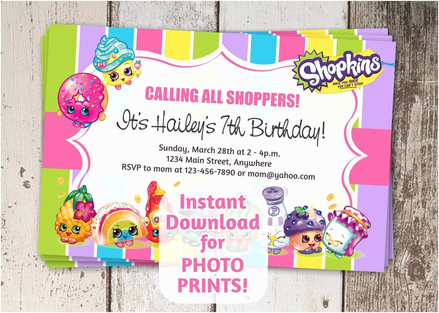 Shopkins Birthday Party Invitations Shopkins Invitation for Birthday Party 4x6 by