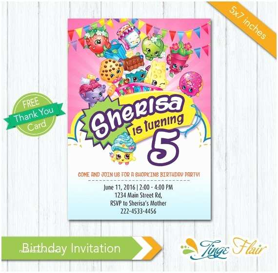 Shopkins Birthday Party Invitations Shopkins Invitation Shopkins Birthday Invitation Shopkins