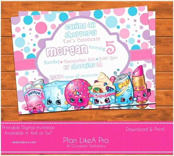 Shopkins Birthday Party Invitations Shopkins Invitation Shopkins Birthday Shopkins by