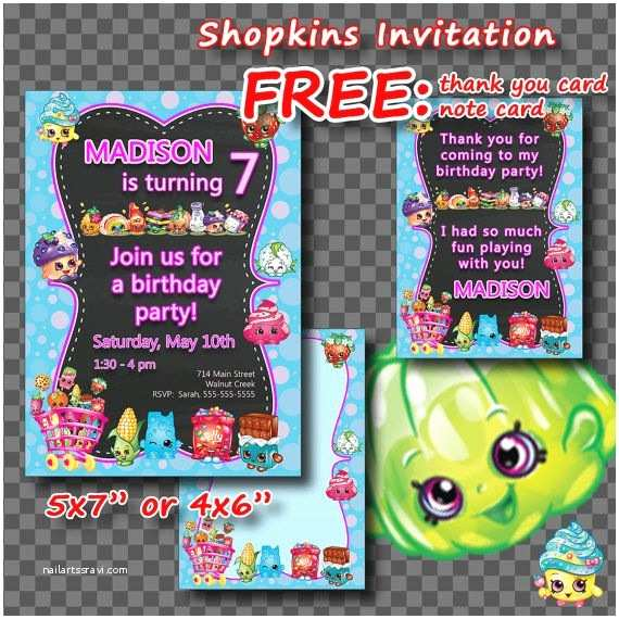 Shopkins Birthday Party Invitations Shopkins Invitation Thank You Card Note Card Birthday by
