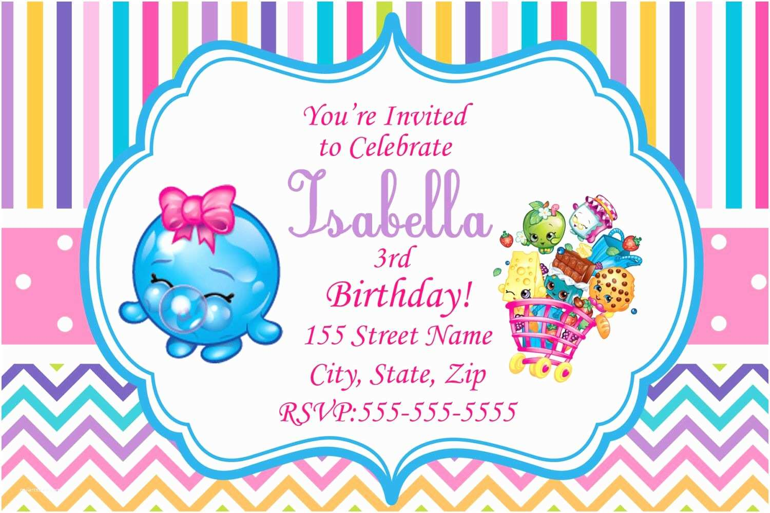 Shopkins Birthday Party Invitations Shopkins Invitations Shopkins Printed Invitations