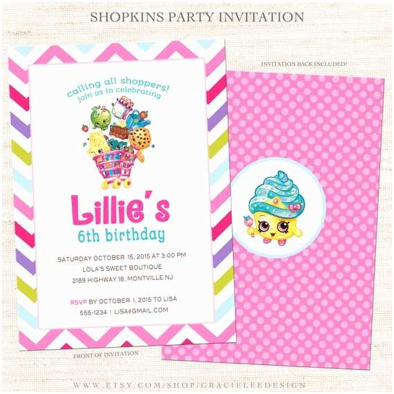 Shopkins Birthday Party Invitations Shopkins Party Invitation Shopkins Birthday Printable