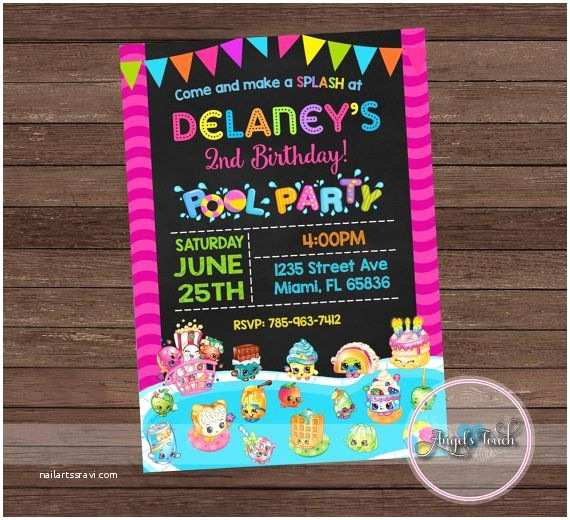 Shopkins Birthday Party Invitations Shopkins Pool Party Invitation Shopkins Birthday
