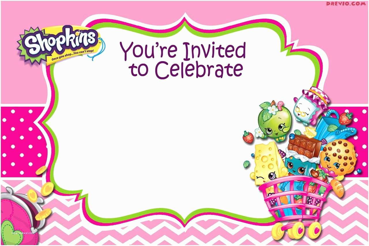 Shopkins Birthday Party Invitations Updated Free Printable Shopkins Birthday Invitation