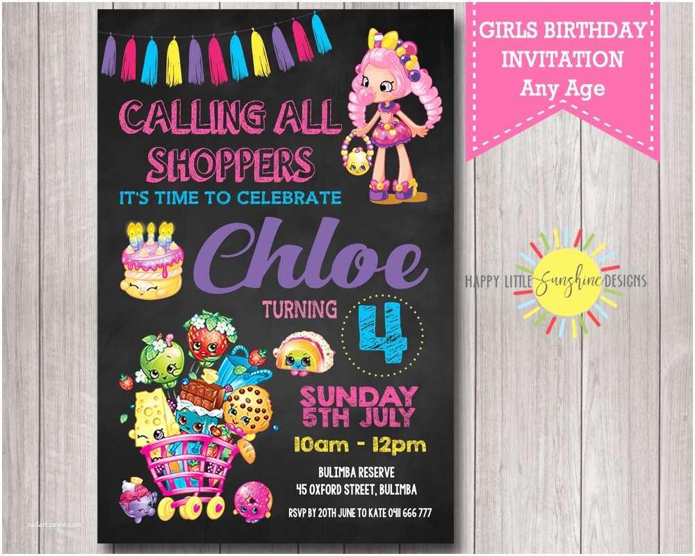 Shopkins Party Invitations Girl Birthday Printable Invitation