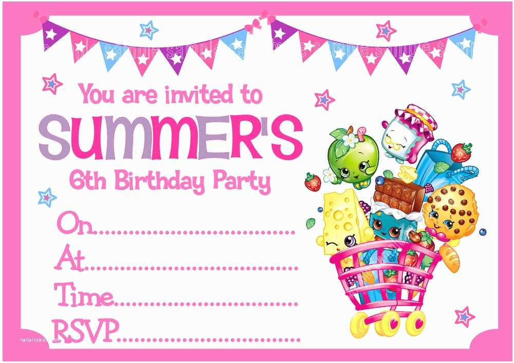 Shopkins Party Invitations Personalised Shopkins Birthday Party Invitations or Thank