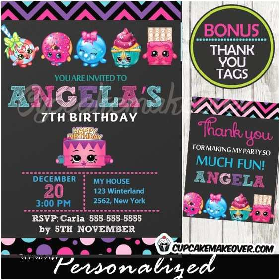 Shopkins Party Invitations Printable Birthday Invitation And Thank You Tags