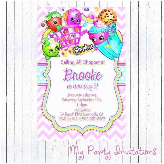 Shopkins Party Invitations Birthday Invitation Digital File Printable