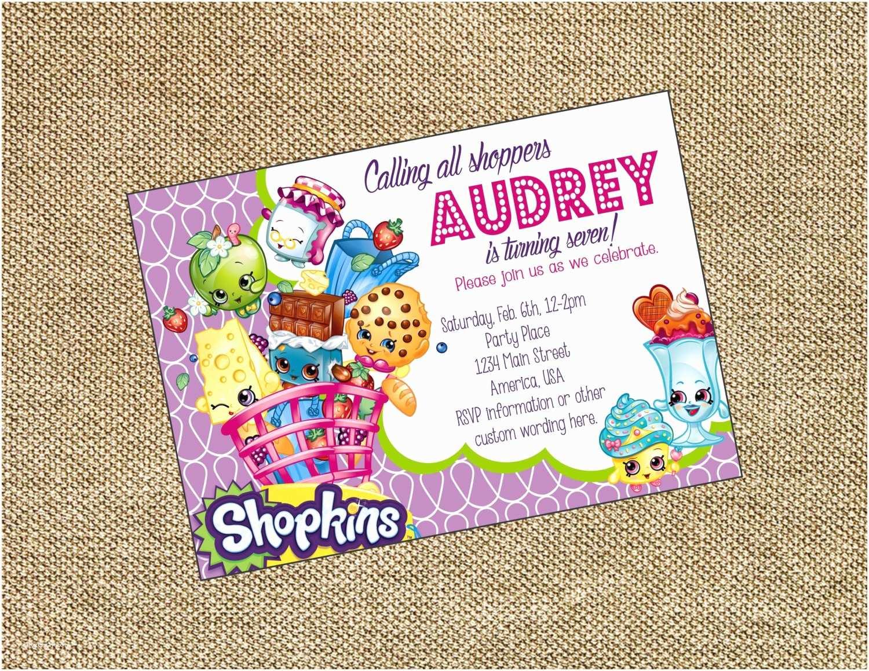 Shopkins Party Invitations Shopkins Birthday Invitation